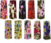 1 Stück Geschenktüte Flaschentüte, Blumen, Tüte 33 x 10 x 9 cm