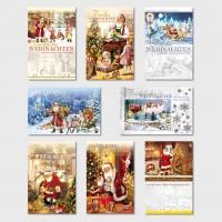 Nostalgische Weihnachtsgrußkarte Weihnachtsmann 11,5 x 17,5 cm