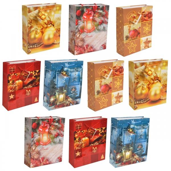 10 Stück Geschenktüten Weihnachten modern Tüte - Medium 23 x 18 x 10 cm