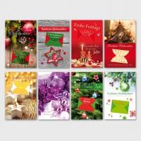 Weihnachtsgrußkarte Geldkuvert-Karte Tannengrün 11,5 x 17,5 cm