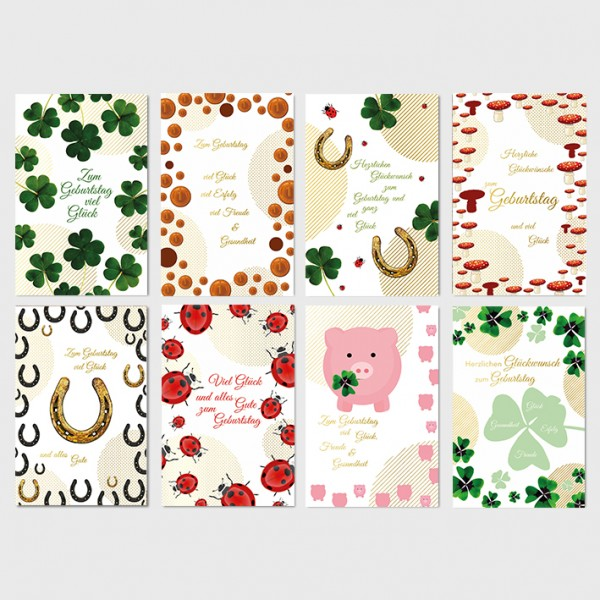 Glückwunschkarten Geburtstagskarten Grußkarten Glückssymbole 11,5x17,5 cm