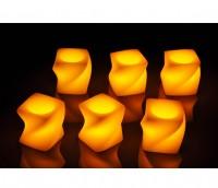 LED Kerzenset 6er LED Kerze elektrisch echtwachs flackernd eckige Form gedreht